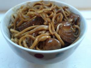Beef and black bean sauce with noodles.